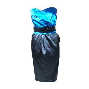 Torrid dress satin strapless colorblock belted 20